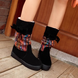 PU Patchwork Slip-On Booties