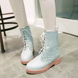 Embossed PU Round Toe Lace-Up Martin Boots