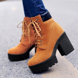 Buy Suede Chunky Heel Lace-Up Front Ankle Boots