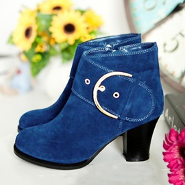 Suede Buckles Chunky Heel Ankle Boots