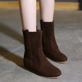 Solid Color Suede Slip-On Booties