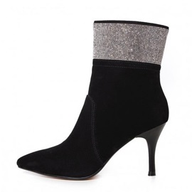 Rhinestone Suede Pointed Toe Ankle Boots