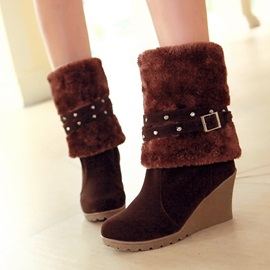 Studded Faux Fur Suede Wedge Boots