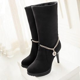 Chains Suede Slip-On Booties