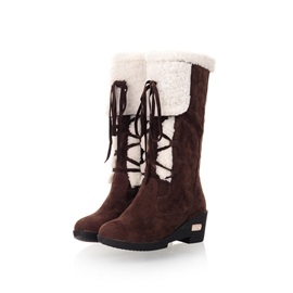 Purfle Lace-Up Front Chunky Heel Snow Boots