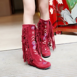 Embroidered Tassels Suede Booties