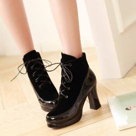 PU Patchwork Lace-Up Ankle Boots