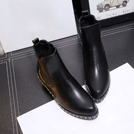 Black PU Chunky Heel Booties
