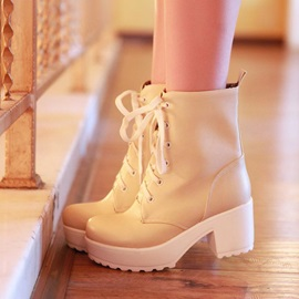 Solid Color Chunky Heel Booties