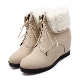 Solid Color Fold Over Wedge Boots