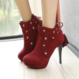 Stars Suede Stiletto Heel Booties