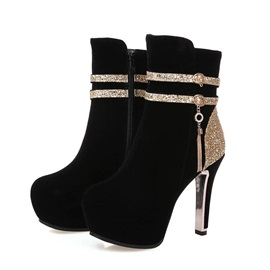 Sequins Suede Zippered Platform Booties