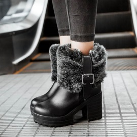Faux Fur Chunky Heel Booties