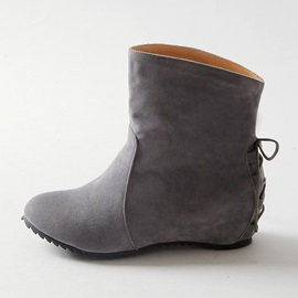 Solid Color Round Toe Suede Booties
