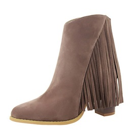 Tassels Suede Chunky Heel Zippered Booties
