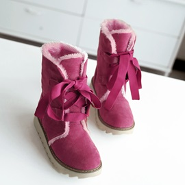 Purfle Round Toe Lace-Up Booties