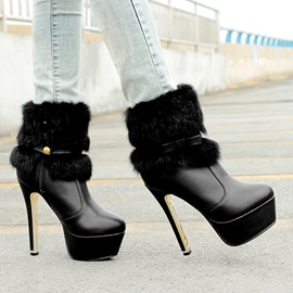 Faux Fur Stiletto Heel Side-Zip Booties