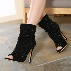 Black Rivets Peep-Toe Stiletto Heel Booties