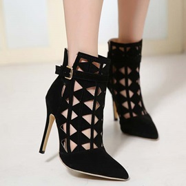 Black Pointed Toe Cut-Out Booties