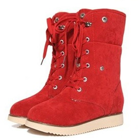 Cheap Fold Over Lace-Up Suede Orange Booties