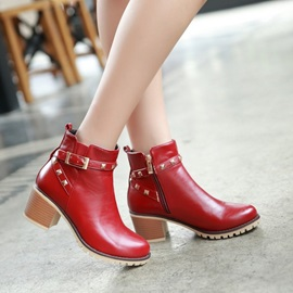 Rivets Chunky Heel Zippered Booties
