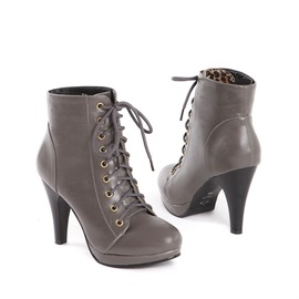 Solid Color Platform Lace-Up Booties