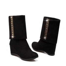 Rhinestone Suede Slip-On Wedge Boots