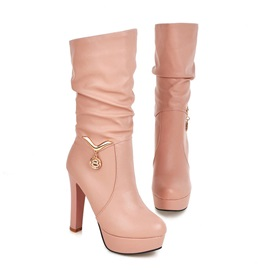 Solid Color PU Slip-On Booties