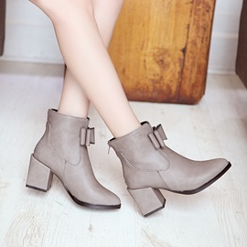 Bowtie Chunky Heel Ankle Boots