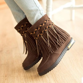 Crochet Tassels Slip-On Booties