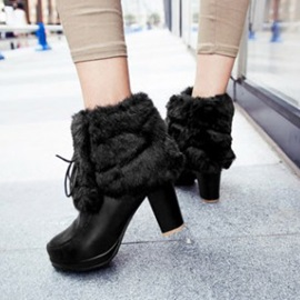 Faux Fur Chunky Heel Ankle Boots