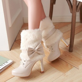 Bowtie Faux Fur Lace-Up Booties