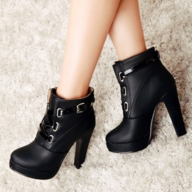 Solid Color PU Chunky Heel Ankle Boots