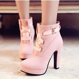 Buy Solid Color PU Chunky Heel Ankle Boots