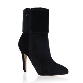 Black Buckles Suede Pointed Toe Booties