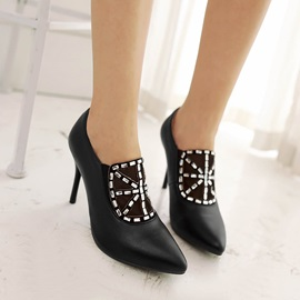 Rhinestone Pointed Toe Ankle Boots