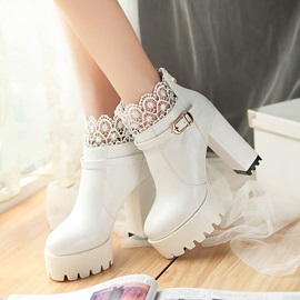 Lace Patchwork Wedge Sole Ankle Boots
