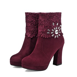 Rhinestone Lace-Patchwork Chunky Heel Ankle Boots