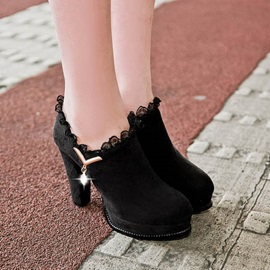 Purfle Chunky Heel Ankle Boots
