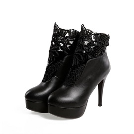 Solid Color Lace Patchwork Platform Ankle Boots