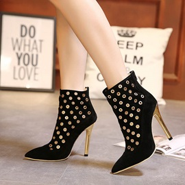 Sequins Pointed Toe Back-Zip Ankle Boots