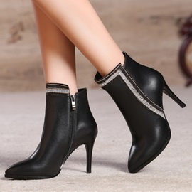 Rhinestone Pointed Toe Zippered Ankle Boots