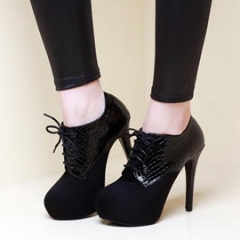 Embossed PU Lace-Up Ankle Boots