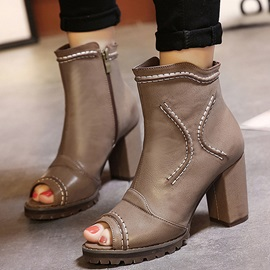 PU Thread Peep-Toe Chunky Heel Booties