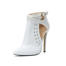 PU Rhinestone Pointed Toe Stiletto Booties