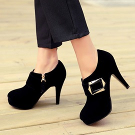 Suede Buckles Zippered Ankle Boots