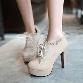 Purfle Chunky Heel Lace-Up Ankle Boots
