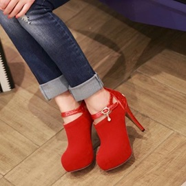 Suede Patchwork Round Toe Ankle Boots