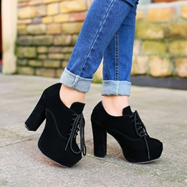 Solid Color Suede Chunky Heel Ankle Boots