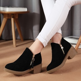 Suede Round Toe Zippered Ankle Boots